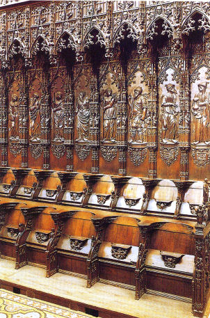Some of the hundred and thirteen oaken stalls, Auch cathedral