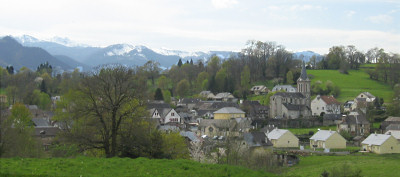 View across Bartres,  a typical Pyrenean village, where Bernardette stayed at times  during her childhood, to the Pyrenees mountain range.