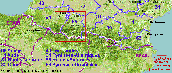 The Pyrenees mountain range, with   French departments