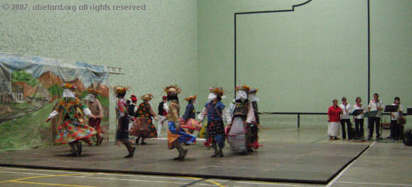 Basque dancing and band in the sports hall at Hasparren