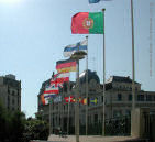 Sign of a major international conference at Biarriz - European national flags.