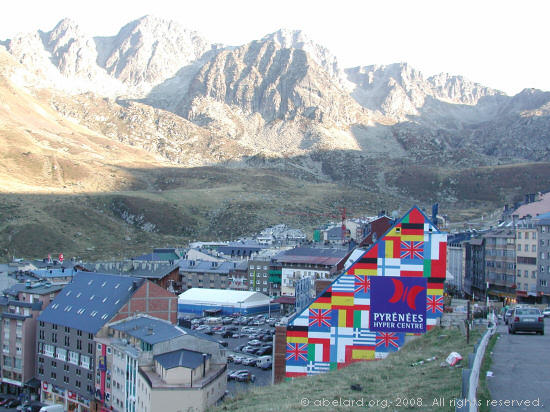 View over one of the wild west shopping towns in Andorra.