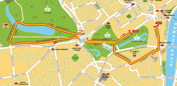 Map of the Prologue for the 2007 Tour de FRance, being held in central London.