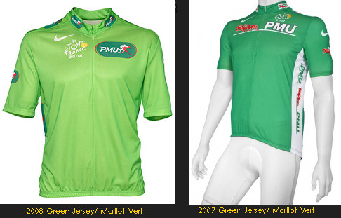 The Green Jersey for 2008 and the previous, 2007 version