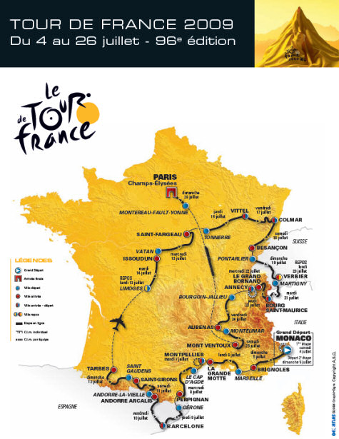 Map of the stages for the 2009 tTour de France