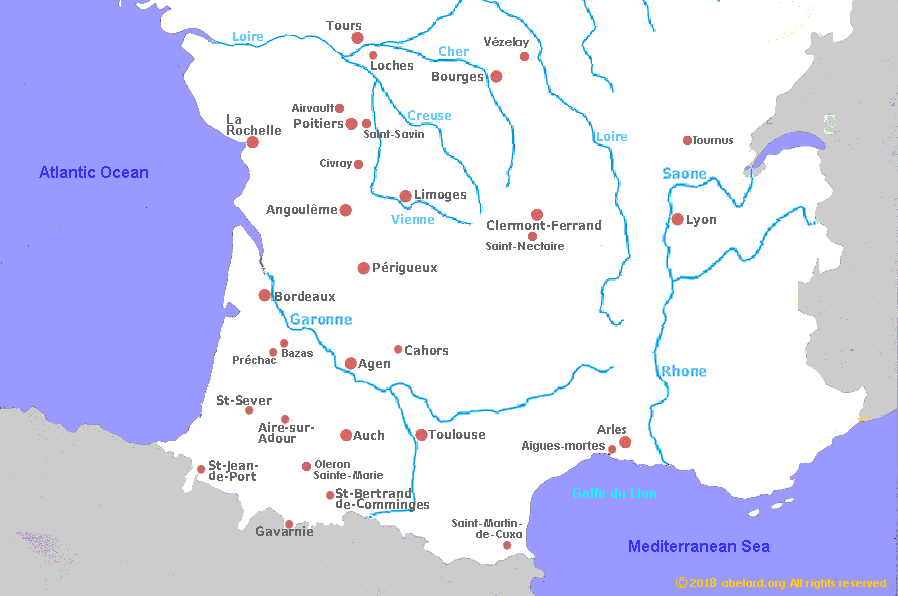 Map of towns and cities associated with interesting religious buildings, southern half of France