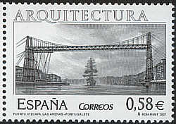 2007 Spanish stamp of tall ship passing under the Puente Vizcaya, Portugalete