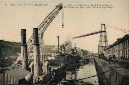the military port at Brest - the outer harbour and the transporting bridge