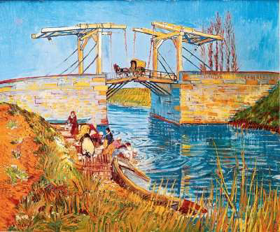 Langlois Bridge at Arles with Women Washing by Vincent van Gogh, 1888