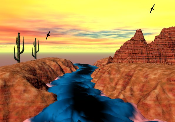 River In The Desert by the auroran sunset