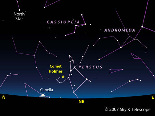 Sky chart showing the position of Comet Holmes (17P). Image credit: Sky & Telescope