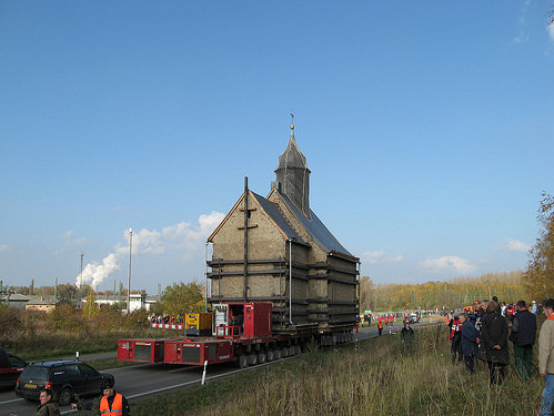Medieval church is moved to allow strip mining. Image credit: mariograul
