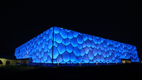 The Water Cube at night, giving an idea of the building's scale. Credit: beijing2008.cn