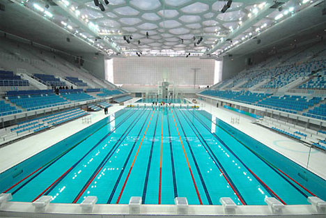 The swimming pool inside the Water Cube. Credit: beijing2008.cn