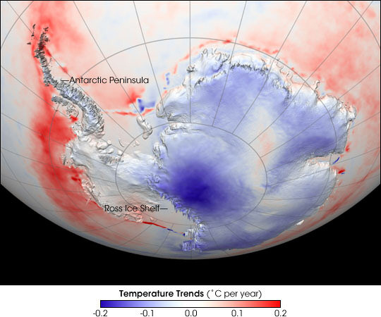 Antarctic Temperature Trend 1982-2004. Credit: NASA image based on data provided by Josefino Comiso, NASA-GSFC