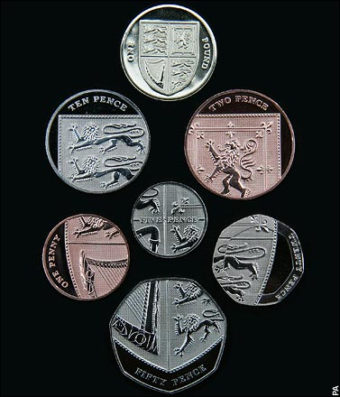 The new coins for the United Kingdom of England, Scotland, Wales and Northern Ireland. Image: Paul Grover