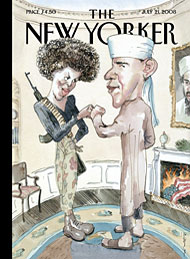 Cover of New Yorker magazine deridin Republican suppositions about Barack and Michelle Obama.