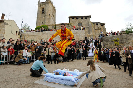 Jumping over babies at the El Colacho Festival , Castrillo de Murcia