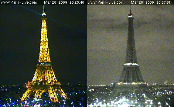 Before and during Earth Hour 2009, according to Paris-Live.com webcam