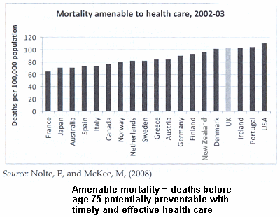 mortalities amenable to health care, by country. From Putting Patients Last/Davies & Gubb