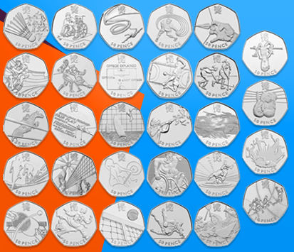 The 29 designs for 50p coins, issued for the 2012 London Olympic Games. Image: The Royal Mint