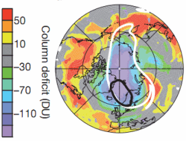 Arctic ozone hole (outlined in black/white)