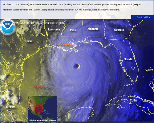 Hurricane Katrina about to hit New Orleans. Image credit:NOAA