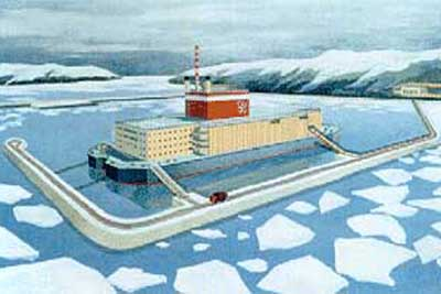 Russian floating nuclear plant, aertist's impression.  Image from www.narod.ru