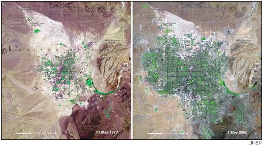satellite images of Las Vagas in 1973 and 2000. Image credit UNEP