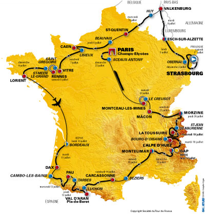 Map for the 2006 edition of the Tour de France