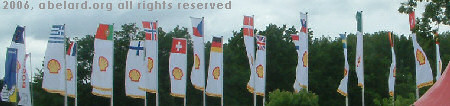 Flags of the paricipating countries displayed by their host, Shell
