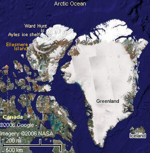 Ellesmere Island relative to Greenland and Canada