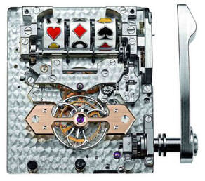1945 Jackpot Tourbillon watch  without its case, showing the one-arm bandit and the tourbillon mechanisms.