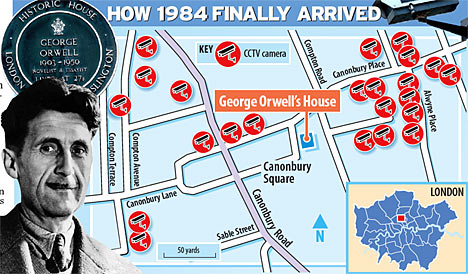 Sketch map showing surveillance cameras installed near George Orwell's home. Image credit: thisislondon.co.uk