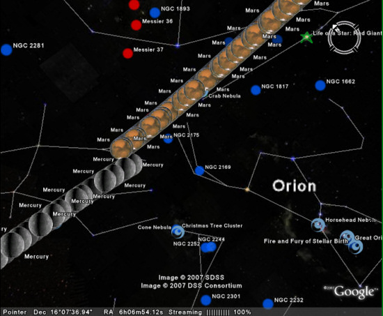 Mars and Mercury traced across spce. From GoogleSky.
