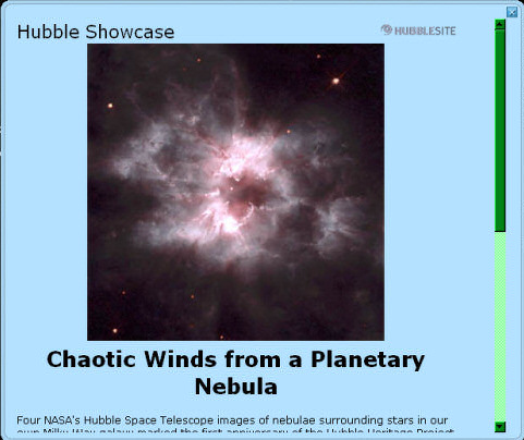 Hubble Telescope popup from Google Sky.