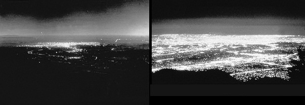 Los Angeles, California at night, 1908 and 1988. Credit: astrosociety.org