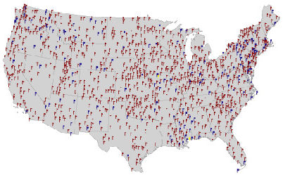 Map of meteorological observing stations across the 48 contiguous United States. Credit: CDIAC