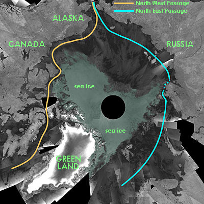 Satellite composite image of the Arctic. Credit: European Space Agency, with additions.