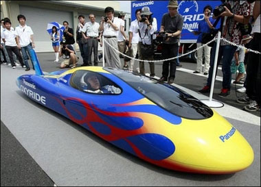 Record-breaking car powered by AA batteries. Image source: http://news.yahoo.com/photo/070804/photos_ts_wl_afp/2731df75795a4f56f3a05a8f4e2b43a4;_ylt=AmU0NjlVBB3GVRokzX2GVtWGOrgF