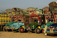 Decorated trucks in Pakistan. Credit: Peter Grant Photography