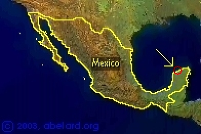 Mexico, showing location of the crater
