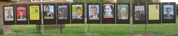 2007 French Presidential Election posters, in a quiet village.