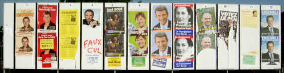 2007 French Presidential Election posters, in a busy town.