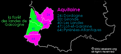 Map of Aquitaine and the Gascogne Forest