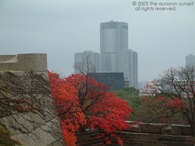 Osaka Castle walls and skyscrapers behind. Image credit: the auroran sunset