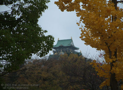 Osaka Castle through autumn leaves. Image credit: the auroran sunset