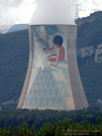 French nuclear power plant cooling tower, with painting on the side. Image credit: the auroran sunset