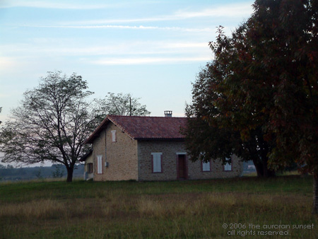 A farm house nestling amongst the trees, with bright evening sky. Image credit: the auroran sunset