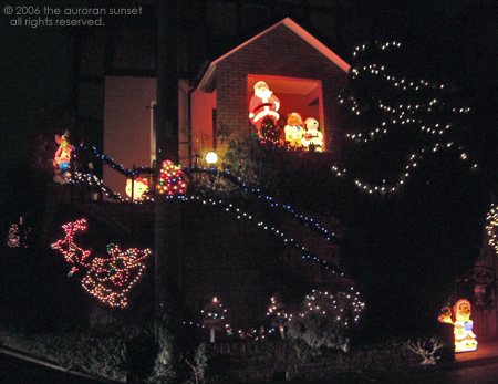 A residential Tokyo house lit up for Christmas, with cartoon characters. Image credit: the auroran sunset